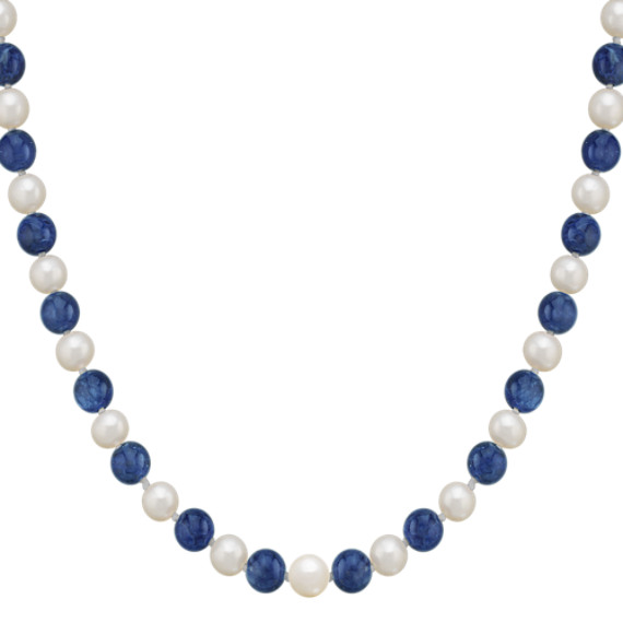 "6.5mm Cultured Freshwater Pearl and Sodalite Strand and Bracelet Set (30"")"