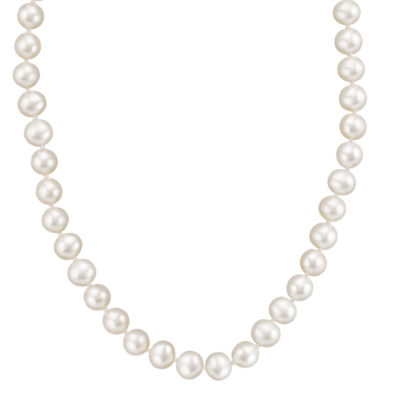 "6.5mm Cultured Freshwater Pearl Necklace and Bracelet Set in Sterling Silver (18"")"