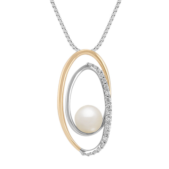 "6mm Cultured Akoya Pearl and Round Diamond Pendant in Two-Tone Gold (18"")"