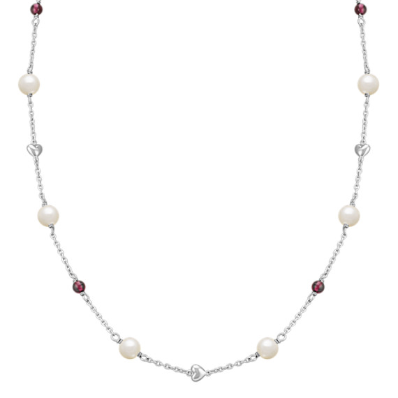 "6mm Cultured Freshwater Pearl and Garnet Necklace in Sterling Silver (24"")"