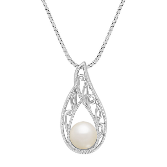 "6mm Cultured Freshwater Pearl Solitaire Pendant (18"")"