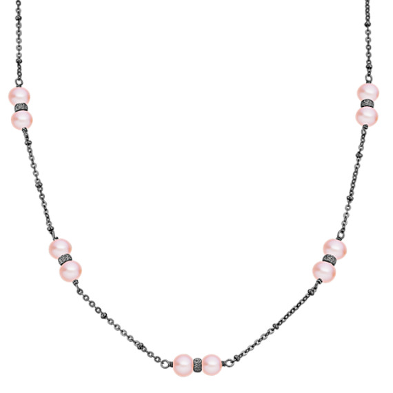 "6mm Pink Cultured Freshwater Pearl and Sterling Silver Necklace (30"")"