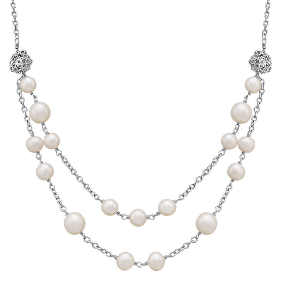 "7-9.5mm Cultured Freshwater Pearl and Sterling Silver Necklace (19"")"