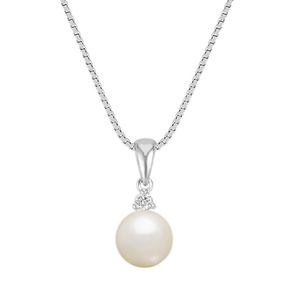 "7.5mm Cultured Akoya Pearl and Diamond Pendant (18"")"