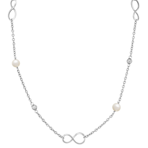 7.5mm Cultured Freshwater Pearl and Sterling Sillver Infinity Necklace (30)