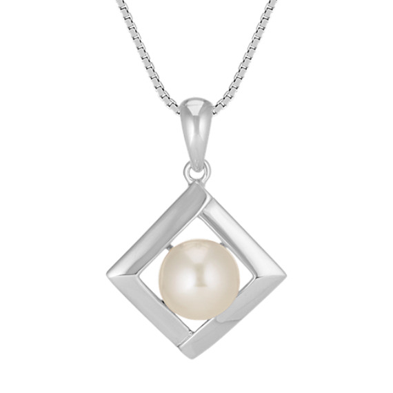 "7.5mm Cultured Freshwater Pearl and Sterling Silver Square Pendant (18"")"