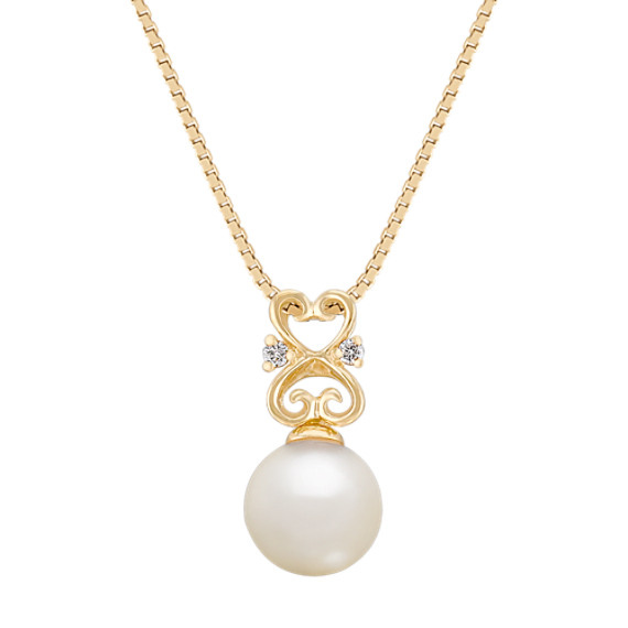 "7mm Cultured Akoya Pearl and Diamond Pendant (18"")"
