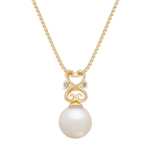 7mm Cultured Akoya Pearl and Diamond Pendant (18)
