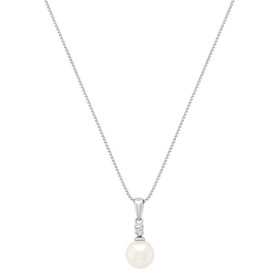 7mm Cultured Akoya Pearl and Round Diamond Pendant (18)