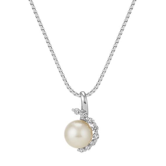 "7mm Cultured Akoya Pearl and Round Diamond Pendant (18"")"