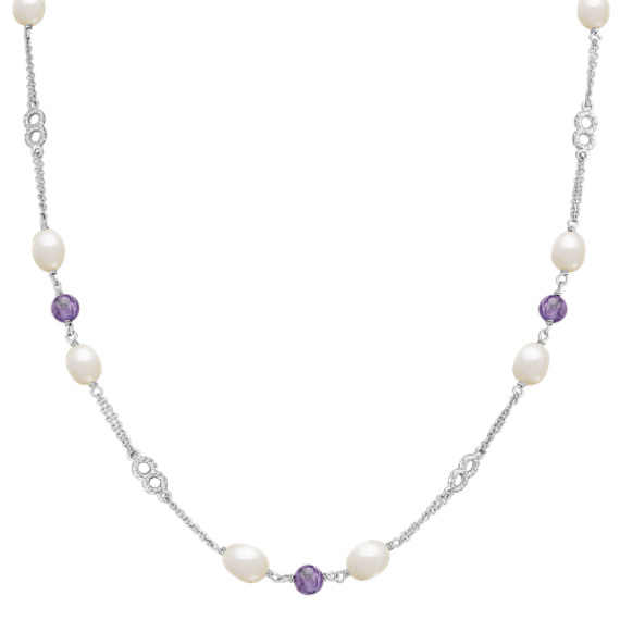 7mm Cultured Freshwater Pearl and Charoite Necklace in Sterling Silver (24)
