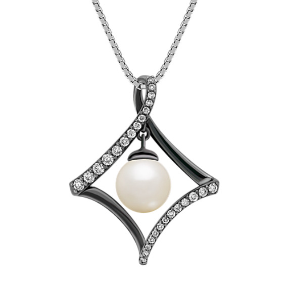 "7mm Cultured Freshwater Pearl and Round Diamond Pendant (18"")"