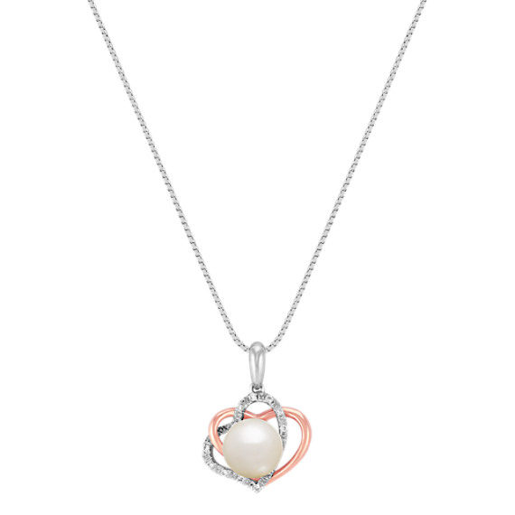 8.5mm Cultured Freshwater Pearl and Diamond Double Heart Pendant (18)