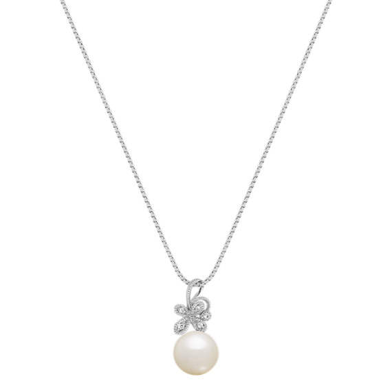 8.5mm Cultured Freshwater Pearl and Diamond Flower Pendant in Sterling Silver (18)