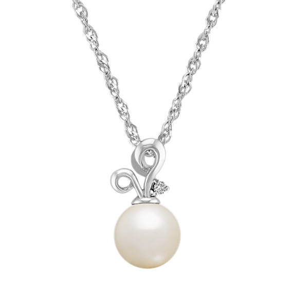 8.5mm Cultured Freshwater Pearl and Diamond Sterling Silver Pendant (18)