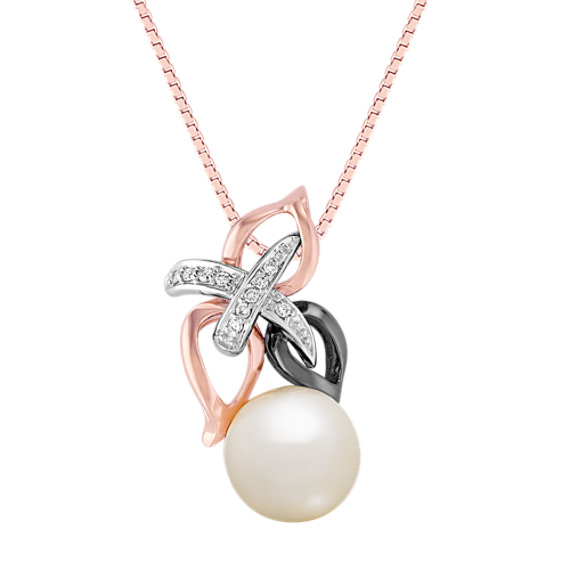 8.5mm Cultured Freshwater Pearl and Round Diamond Pendant in 14k Rose and White Gold (18)