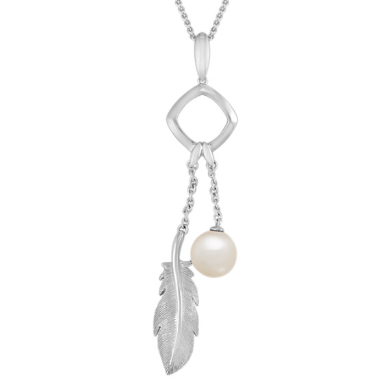 "8.5mm Cultured Freshwater Pearl and Sterling Silver Feather Pendant (24"")"