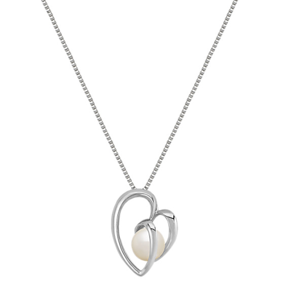 "8.5mm Cultured Freshwater Pearl and Sterling Silver Heart Pendant (18"")"