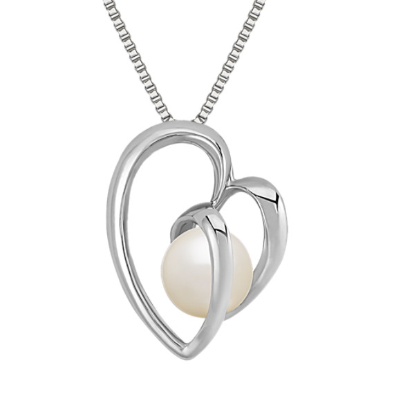 8.5mm Cultured Freshwater Pearl and Sterling Silver Heart Pendant (18)