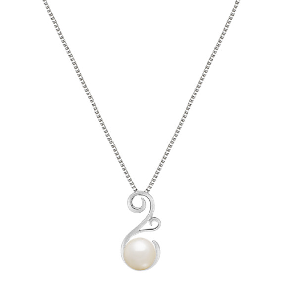 "8.5mm Cultured Freshwater Pearl Pendant in Sterling Silver (18"")"