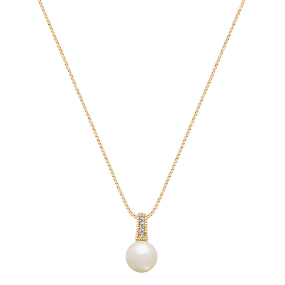 """8mm Akoya Pearl and Diamond Pendant (18"""")"""