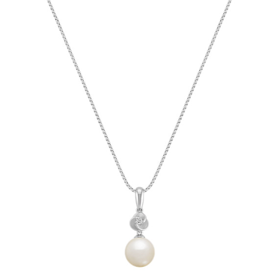 8mm Cultured Akoya Pearl and Diamond Pendant (18)