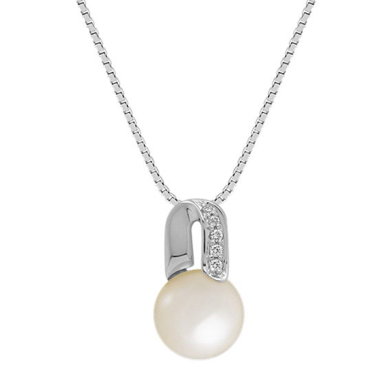 8mm Cultured Akoya Pearl and Round Diamond Pendant (18)