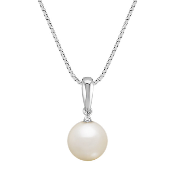 8mm Cultured Freshwater Pearl and Diamond Pendant (18)