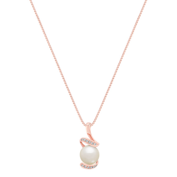 8mm Cultured Freshwater Pearl and Round Diamond Pendant in Rose Gold (18)