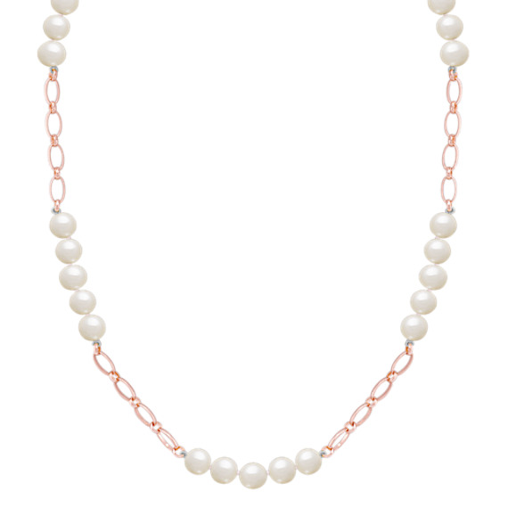 "8mm Cultured Freshwater Pearl and Sterling Silver Necklace (40"")"