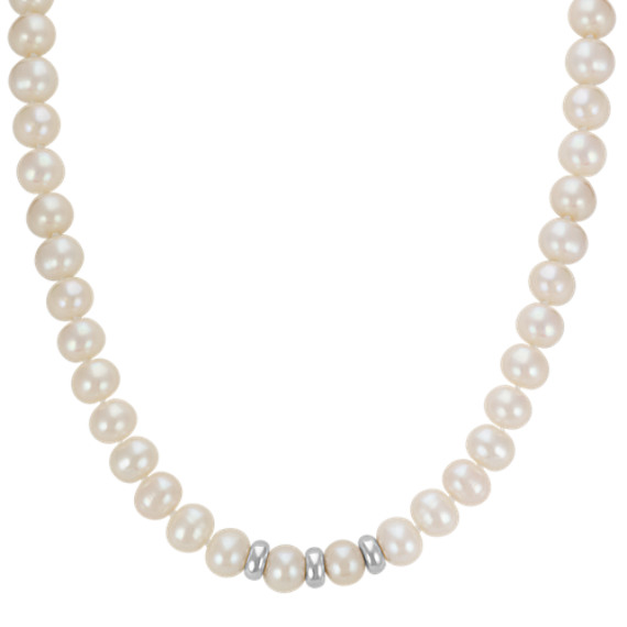 "8mm Cultured Freshwater Pearl Strand with Sterling Silver Stations (18"")"