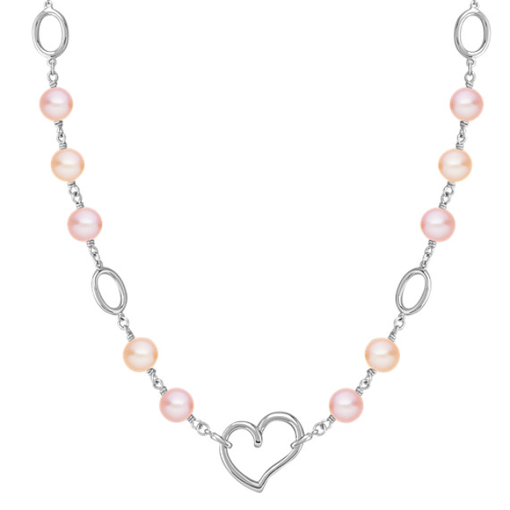 "8mm Multi-Colored Cultured Freshwater Pearl and Sterling Silver Necklace (18"")"