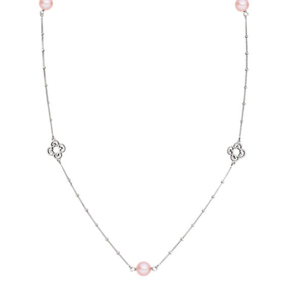 "8mm Pink Cultured Freshwater Pearl and Sterling Silver Necklace (36"")"