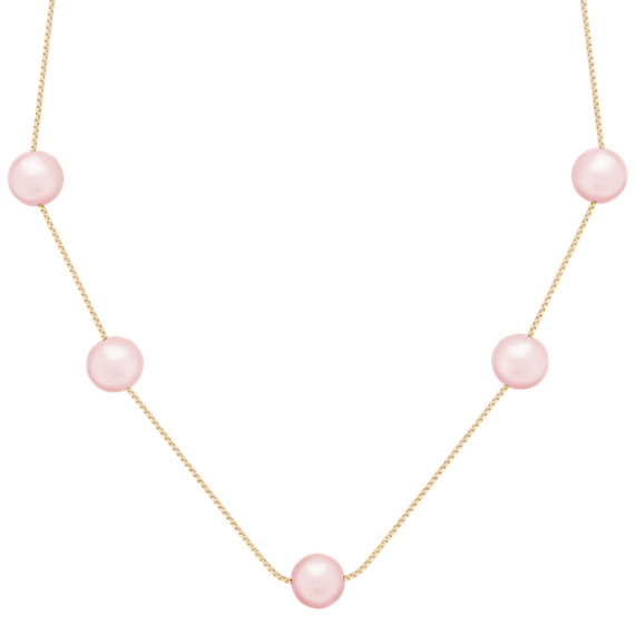 "8mm Pink Cultured Freshwater Pearl Necklace (18"")"