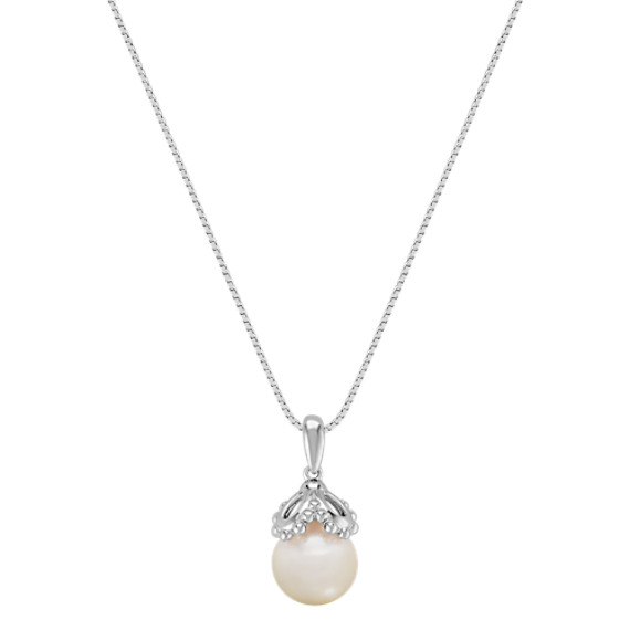 "9.5mm Cultured Freshwater Pearl Pendant in Sterling Silver (18"")"