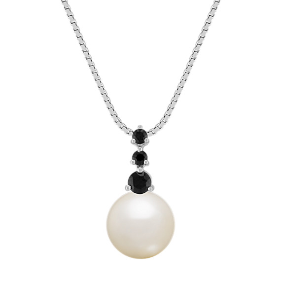 "9mm Cultured Freshwater Pearl and Black Sapphire Pendant (18"")"