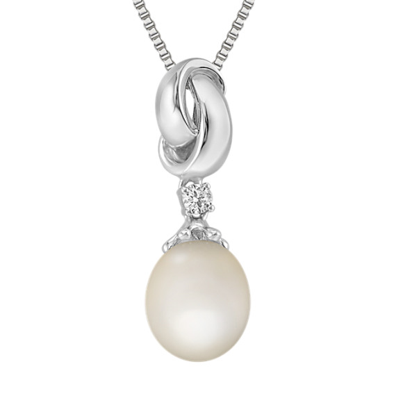 "9mm Cultured Freshwater Pearl and Round Diamond Pendant in Sterling Silver (18"")"