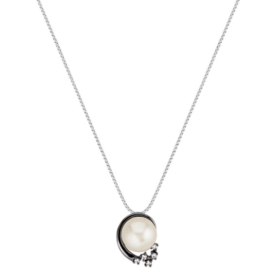 9mm Cultured Freshwater Pearl and Round Diamond Pendant (18)
