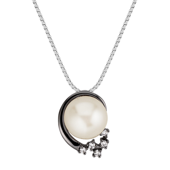 "9mm Cultured Freshwater Pearl and Round Diamond Pendant (18"")"