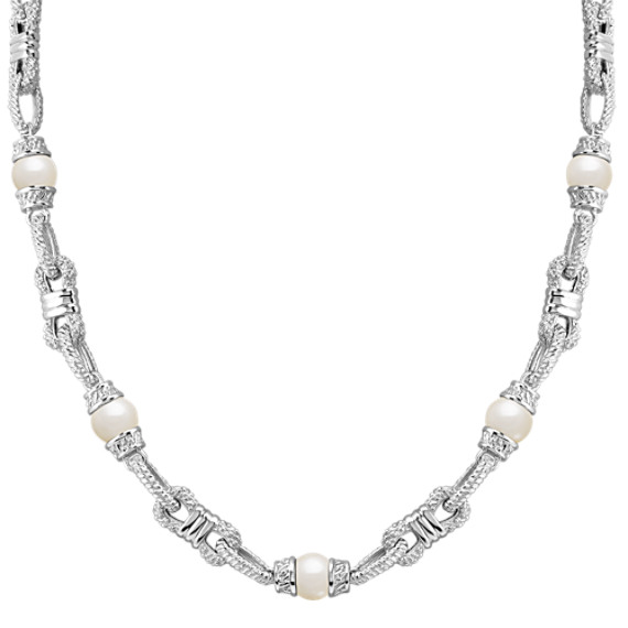 "9mm Cultured Freshwater Pearl and Sterling Silver Necklace (24"")"