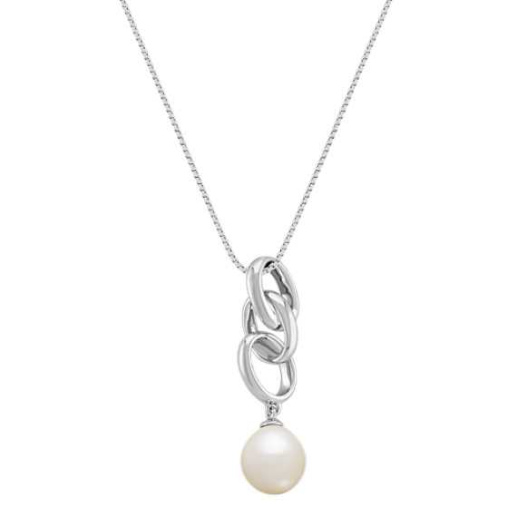 9mm Cultured Freshwater Pearl and Sterling Silver Pendant (18)