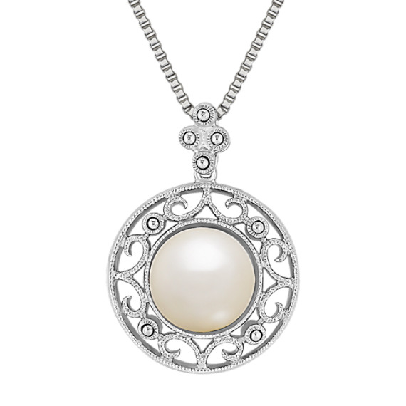 "9mm Cultured Freshwater Pearl Pendant in Sterling Silver (18"")"