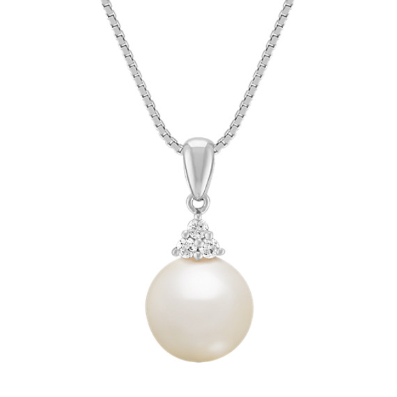 "9mm Cultured South Sea Pearl and Round Diamond Pendant (18"")"
