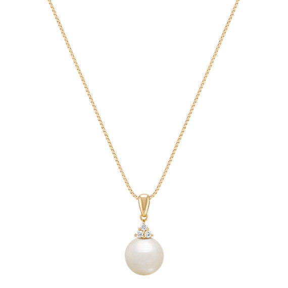 9mm Cultured South Sea Pearl and Round Diamond Pendant (18)