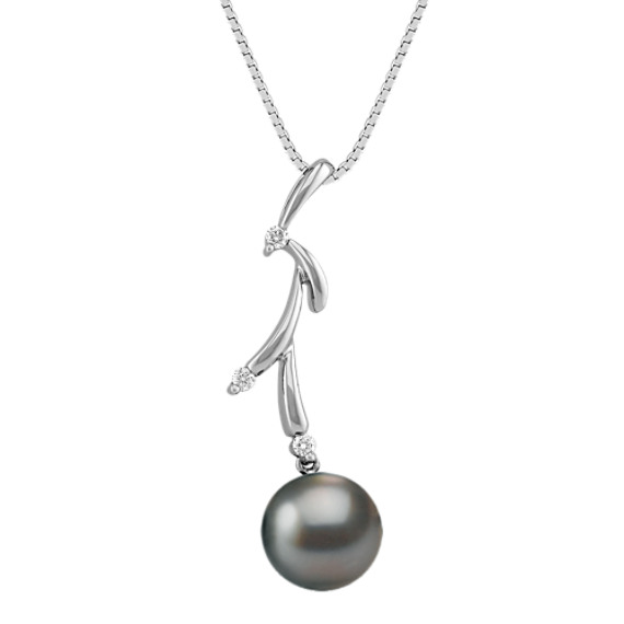 "9mm Cultured Tahitian Pearl and Diamond Pendant (18"")"