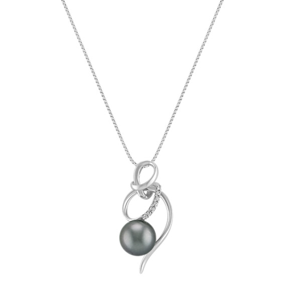 9mm Cultured Tahitian Pearl and Diamond Swirl Pendant (18)