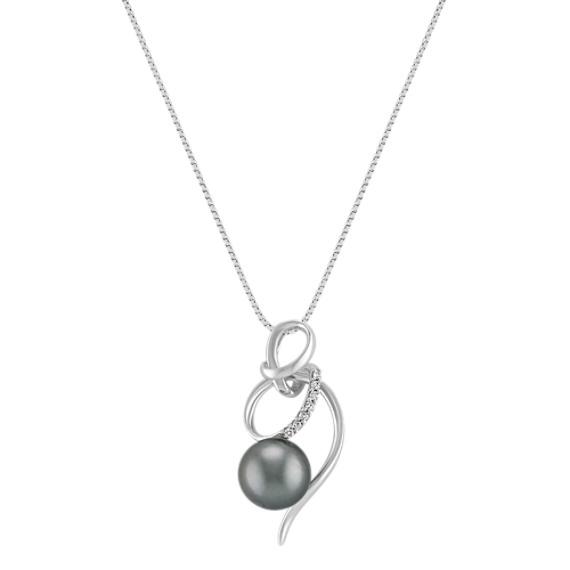 "9mm Cultured Tahitian Pearl and Diamond Swirl Pendant (18"")"