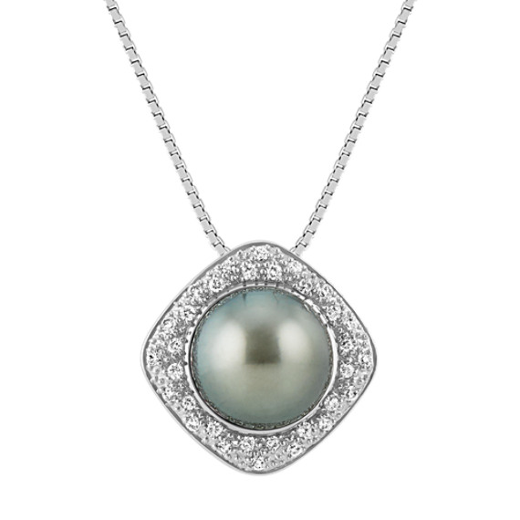 9mm Cultured Tahitian Pearl and Round Diamond Pendant in 14k White Gold