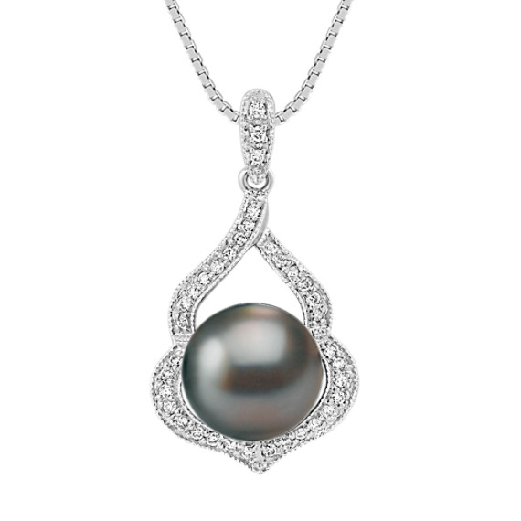 "9mm Cultured Tahitian Pearl and Round Diamond Pendant (18"")"