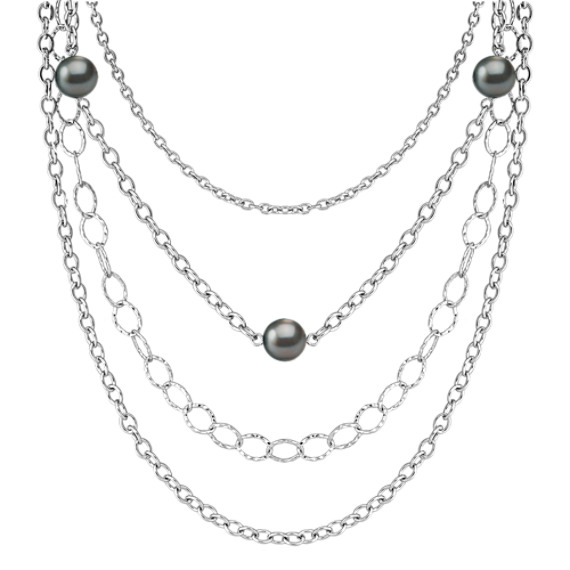 "9mm Cultured Tahitian Pearl and Sterling Silver Necklace (18"")"